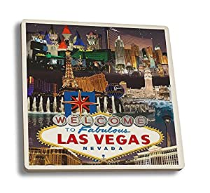 Las Vegas Casinos and Hotels Montage (Set of 4 Ceramic Coasters - Cork-backed, Absorbent)