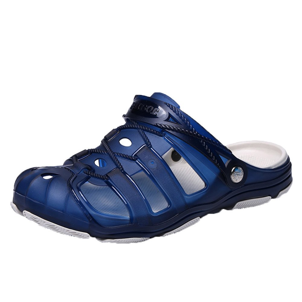 Clearance Sale Shoes For Men,Farjing Men Beach Sandals Hollow Shoes Casual Breathable Slippers Slip-On Flats Shoes(US:9,Blue)
