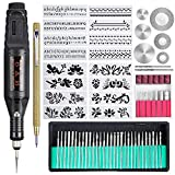 Uolor 70 Pcs Engraving Tool Kit, Multi-Functional Electric Engraver Pen DIY Rotary Tool for Jewelry Metal Glass Ceramic Wood Plastic with Scribe, 52 Bits and 16 Stencils