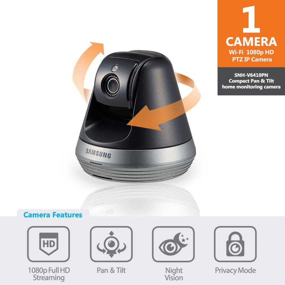 Samsung SNH-V6410PN Pan/Tilt 1080P Wi-Fi Camera, Black by Samsung