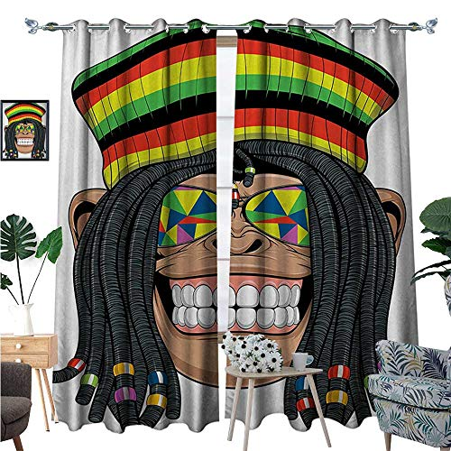 Tropical Animals Blackout Window Curtain Portrait of Chimpanzee with Dreadlocks and Cap Hippie Musician Monkey Boho Customized Curtains W96 x L84 Multicolor