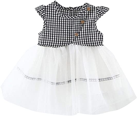 Sleeveless Baby Girls Dress Toddler Kids Princess Plaids Party Tutu Dresses