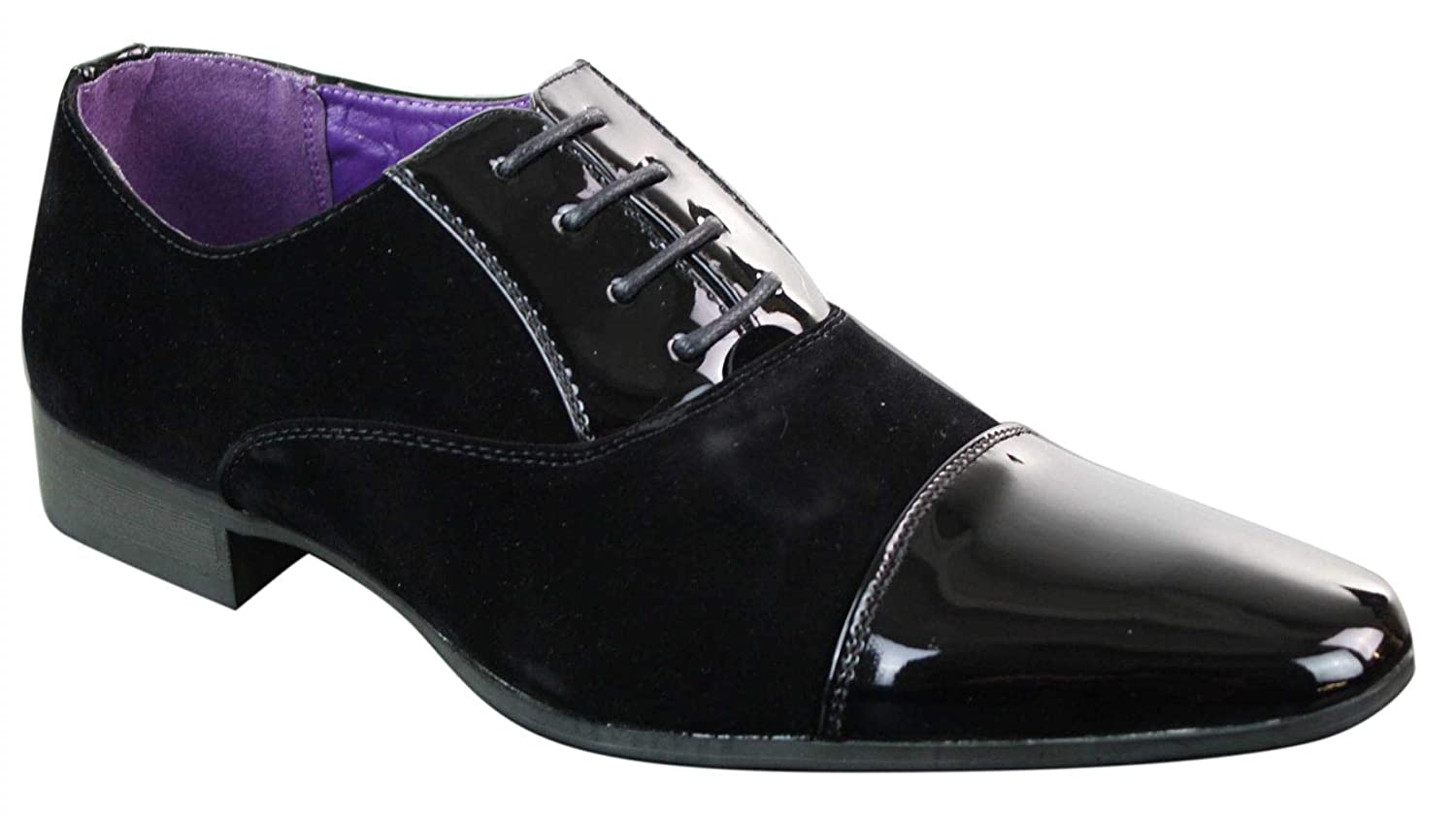 Elong Mens Patent Laced Shiny Shoes Suede Leather Smart Formal Italian Design
