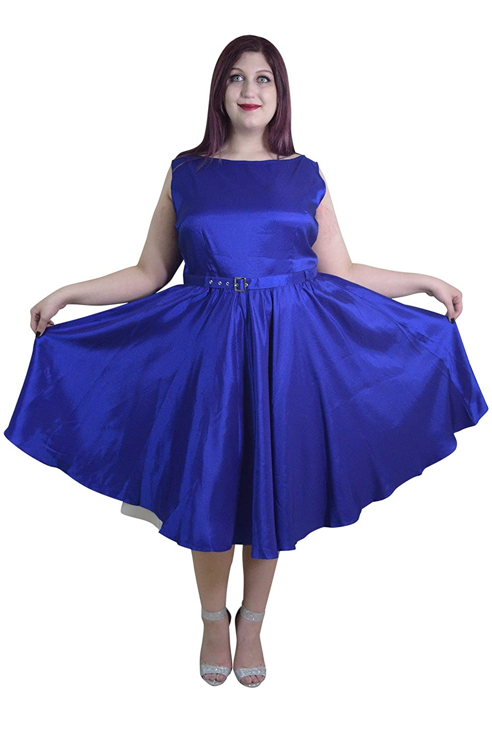 Skelapparel Plus Rockabilly Pinup Deep Blue Satin Cocktail Flare Party Swing Dress