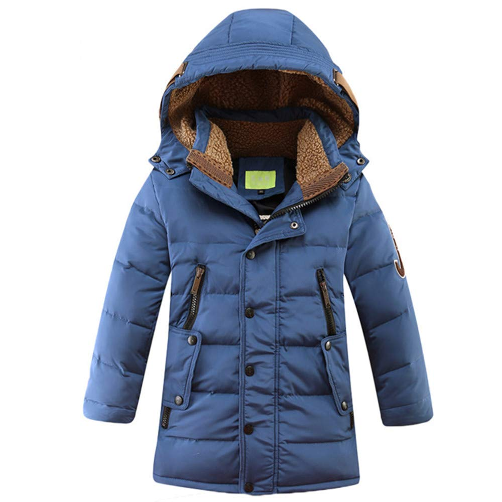 ZPW Big Boys Winter Parka Coat Hooded Down Jacket with Sherpa Lined Collar