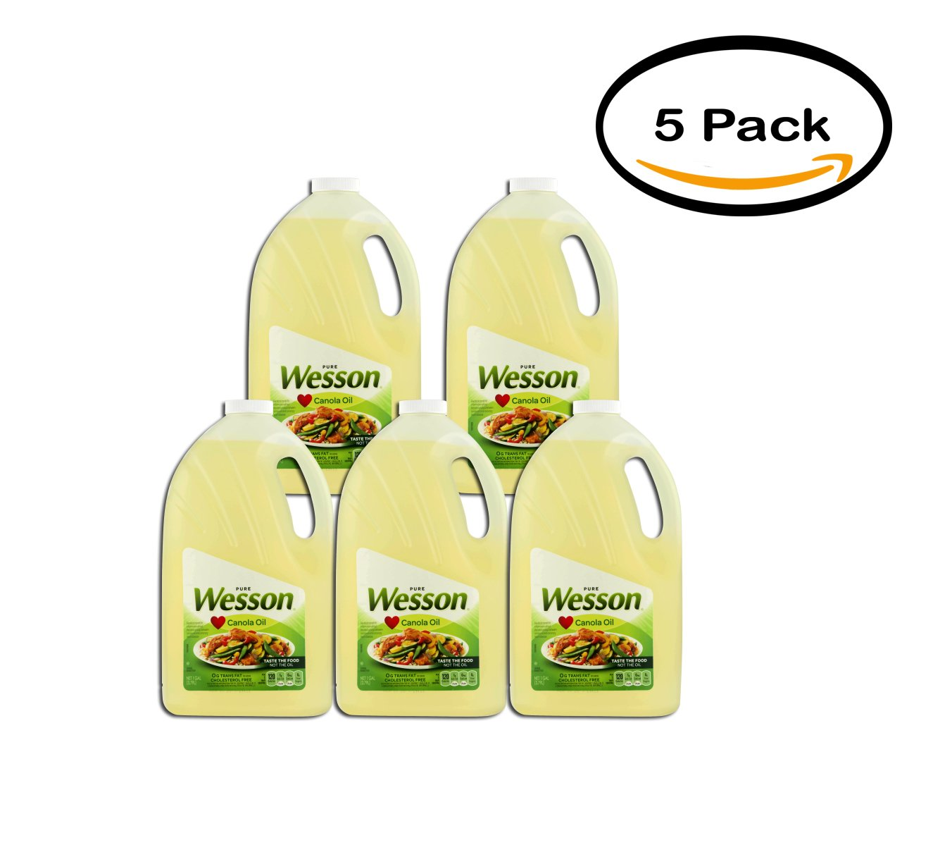 PACK OF 5 - Wesson Pure Canola Oil, 1 Gal