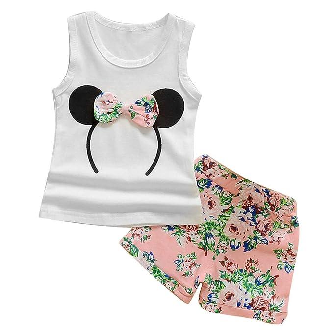 e712b38555cff 1-6Y Completi Estivi per Bambini Kid Girls Set Camicia Tank Bowknot e  Shorts Floreali  Amazon.it  Abbigliamento