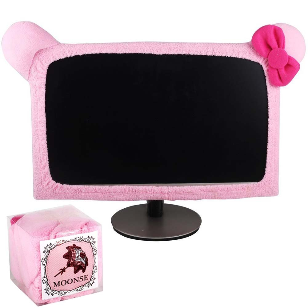 "Moonse 15""-22"" Lovely Cute Waterproof Dustproof Computer Laptop TV LCD Screen Monitor Decoration Dust Cover Protector,Pink"