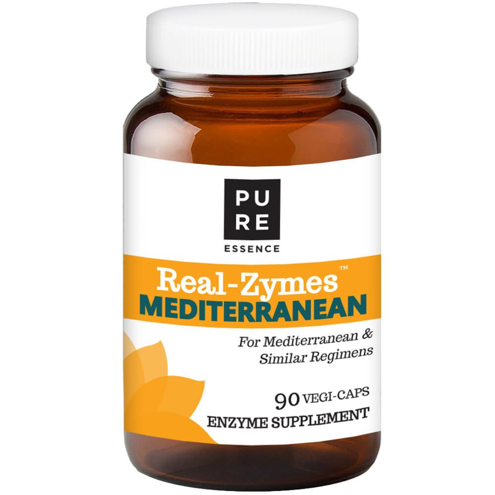 Real-ZymesTM Mediterranean Digestive Enzymes Supplement with Probiotics for Better Digestion - Natural Support for Relief of Bloating, Gas, Belching, Diarrhea, Constipation, IBS, etc. - 90 Caps by PURE ESSENCE LABS