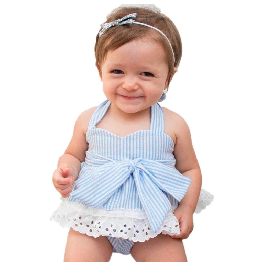 Girls Clothing Sets, SHOBDW Newborn Infant Baby Girls Bowknot T-Shirt+Shorts+Headband Clothes Outfits Set SHOBDW-01