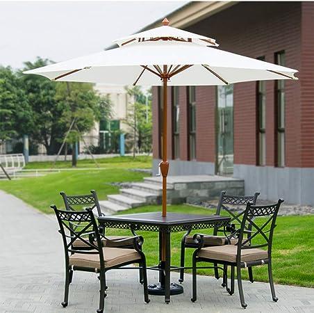 TX Parasol Grande de Jardín Sombrilla para Exterior Desmontable con Manivela de Apertura Fácil, Doble Tejido de Poliéster y Mástil de Metal Φ270x245cm: Amazon.es: Hogar