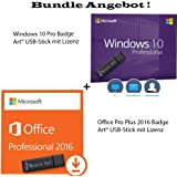 Windows 10 Professional + Microsoft Office Professional Plus 2016 Originale Lizenzen inkl Badge Art® USB-Sticks