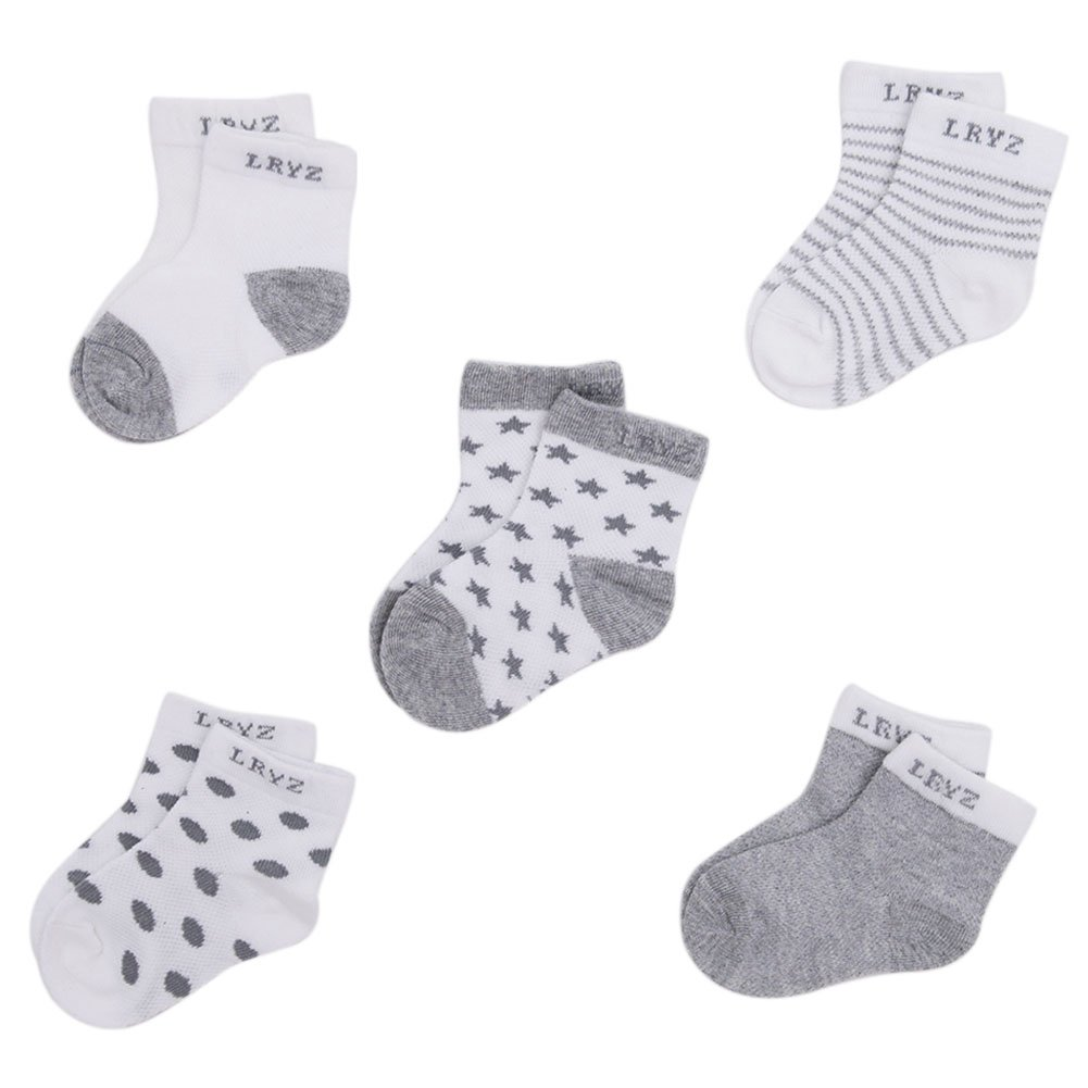 YASSON Lot de 5 Chaussettes B/éb/é Coton Respirant Doux Extensible Socquette Pois Etoile Rayure Bambin 0 /à 6 ans