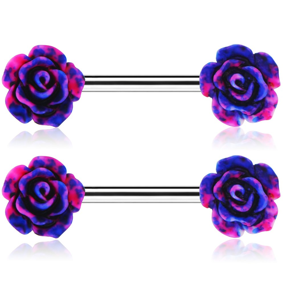 Jewseen 14g Rose Flower Nipple Ring Bar 1.6mm Piercing Barbell for Nipple 2018 B07FY6N87L_US
