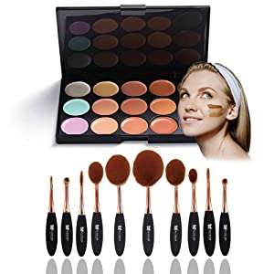 Neverland Beauty 10 Pcs Cosmetic Makeup Brush Face Powder Blusher Toothbrush Curve Brush Foundation + 15 Colors Concealer with Box