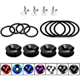 AeroBon JDM Bumper Quick Release Kit with 8 Pieces Replacement O-Ring (4 Regular + 4 Big) (Black)