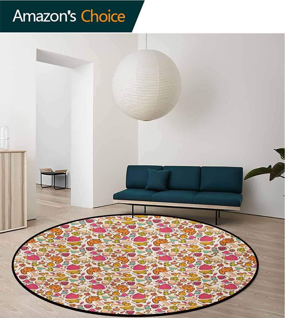 RUGSMAT Tea Party Modern Washable Round Bath Mat,Retro Style Kitchen Things Pattern Cups and Pots Delicious Cakes Colorful Candies Non-Slip Bathroom Soft Floor Mat Home Decor,Round-63 Inch