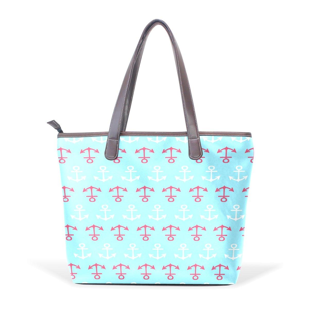 Mr.Weng Household Navy Anchor Lady Handbag Tote Bag Zipper Shoulder Bag