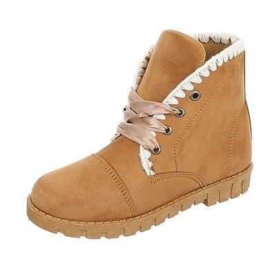 Ital-Design Schnürstiefeletten Damen-Schuhe Klassischer Stiefel Schnürer Schnürsenkel Stiefeletten Altrosa, Gr 39, 2081-