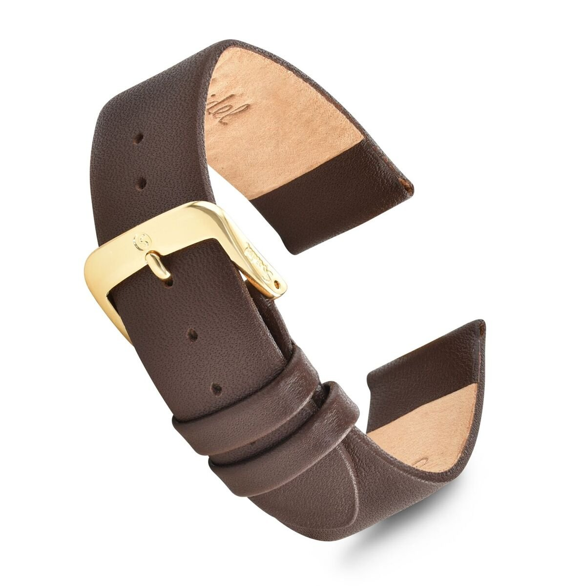 Speidel Genuine Leather Watch Band 20mm Brown Calf Skin Replacement Strap, Stainless Steel Metal Buckle Clasp, Watchband Fits Most Watch Brands
