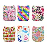 ALVABABY Reuseable Washable Pocket 6 Cloth Diapers + 12 Inserts (Girl Color)6DM18