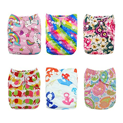 ALVABABY Reuseable Washable Pocket Cloth 6 diapers + 12 inserts (Girl Color)6DM18