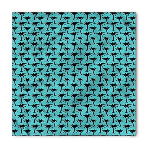 Ambesonne Unisex Bandana, Palm Tree Silhouettes on Blue, Turquoise Black