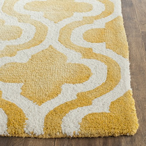 Gold Rectangular Rug - Safavieh Dip Dye Collection DDY537H Handmade Geometric Moroccan Watercolor Gold and Ivory Wool Area Rug (3' x 5')
