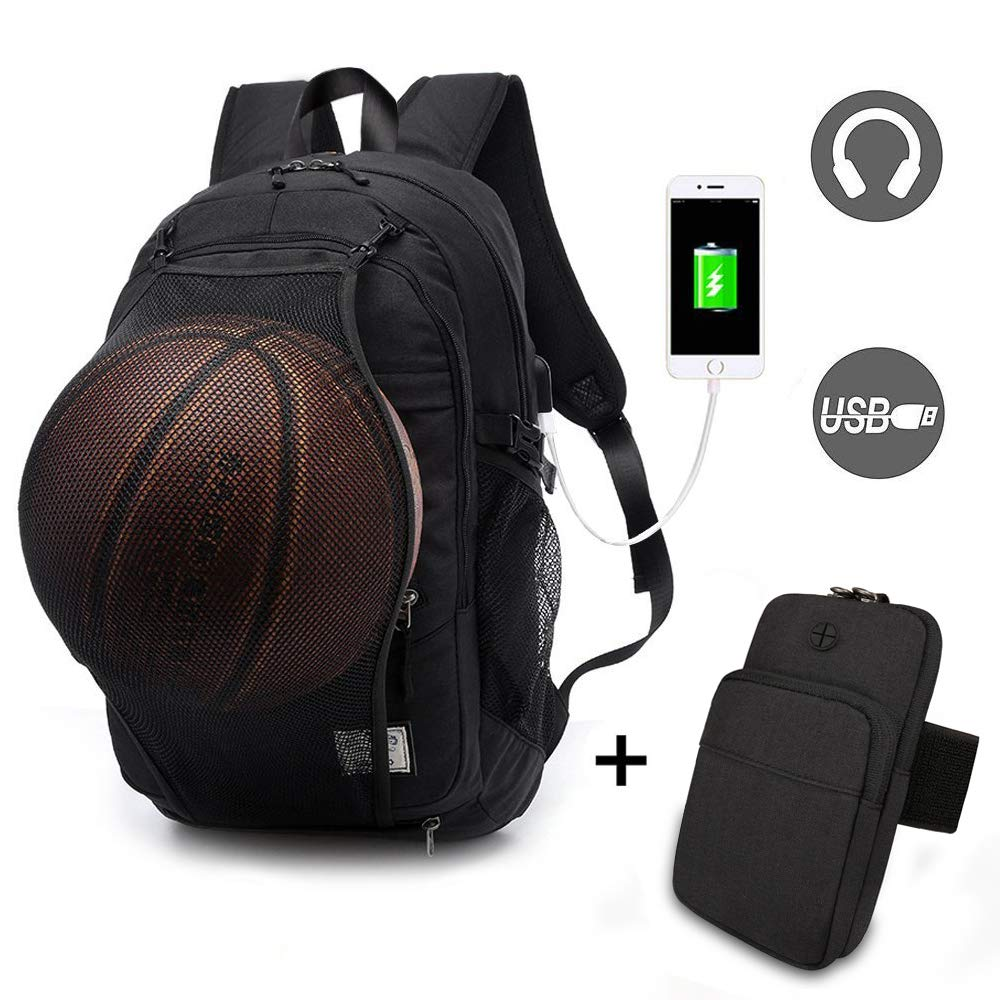 Basketball Laptop Backpack for Boy Travel Business College School Computer Bag with USB Charging Port,Water Resistant for Women & Men Fits 15.6 inch (k Grey Backpack+Arm Bag)