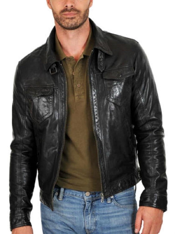 Men Leather Jacket Biker Motorcycle Coat Slim Fit Outwear Jackets AUK073