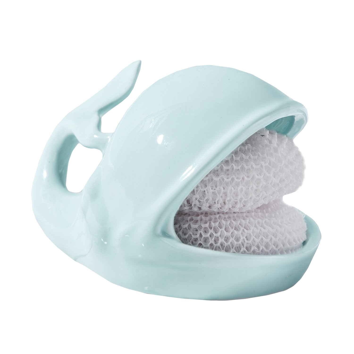 Two's Company 51216 Willy the Whale Sponge Holder Set Includes Two Scrubbies, Aqua