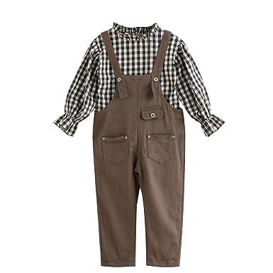 AIKSSOO 2 Piezas Conjunto de Niñas Camisa a Cuadros con Pantalones Cortas: Amazon.es: Ropa y accesorios