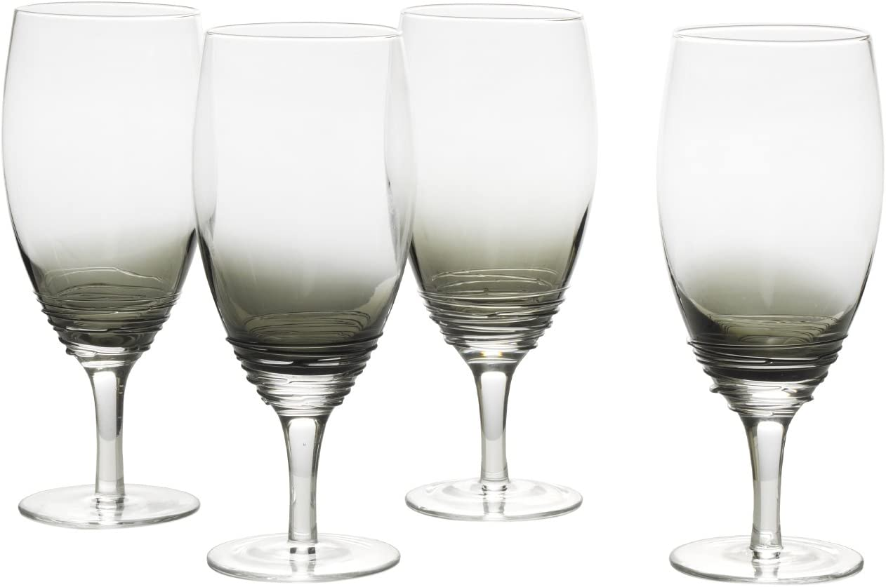 Mikasa Swirl Smoke Iced Beverage Drinkware (Set of 4), 22 oz, Glass