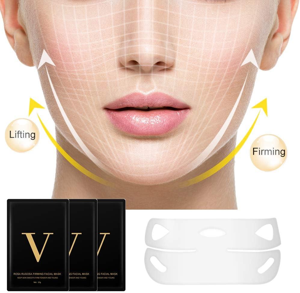 Máscara V Line, HailiCare 3 Pcs Mascarilla Reafirmante Facial, 4D Cara Doble Con Forma V Oreja Colgada Pasta Hidrogel Máscara, Mascarilla hidratante reafirmante de contorno: Amazon.es: Belleza