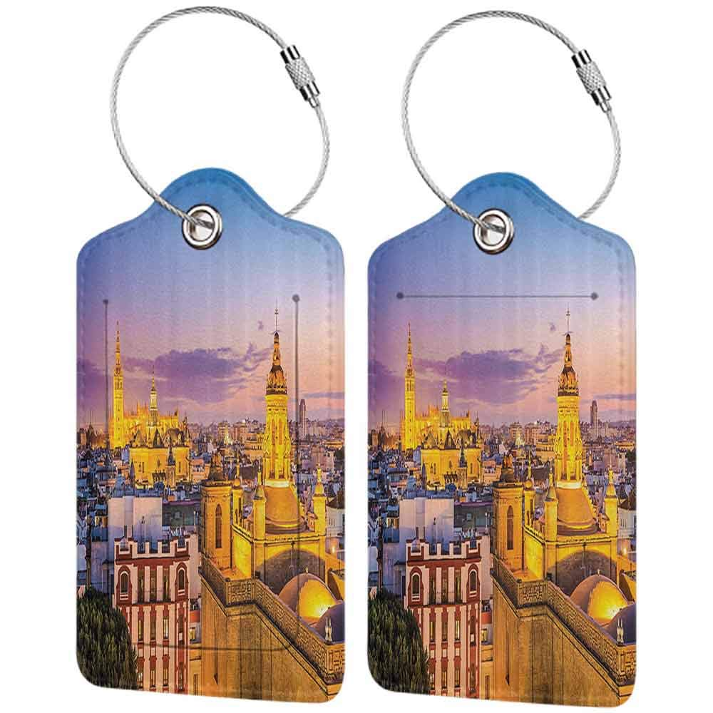 Flexible luggage tag European Cityscape Decor Collection City Skyline in Spain Old Mediterranean Touristic Historic Nostalgic Print Home Fashion match Multi W2.7 x L4.6