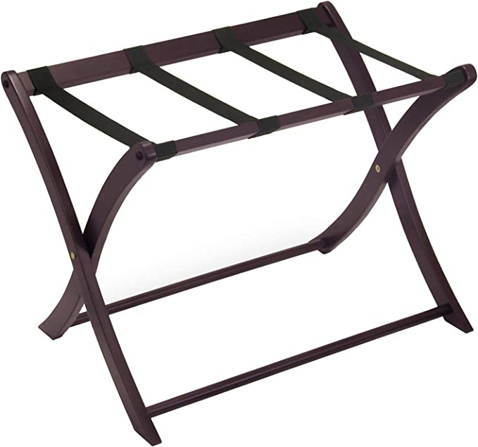 Cappuccino Finish 2 Pack Winsome Wood Remy Luggage Rack with Shelf