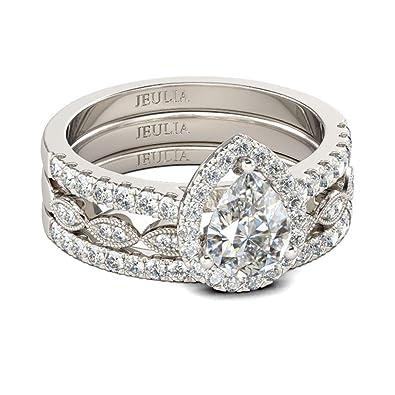 Buy Jeulia Halo Pear Cut Ring Set Cz Heart Shape Engagement Ring