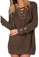 Lovaru Women's Long Sleeve Cozy Lace Up Weave Knit Sweater Pullover Tops