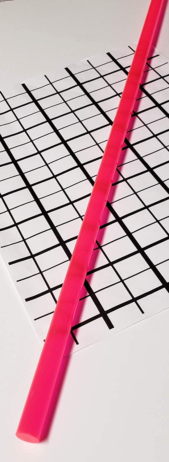 12.7mm .50 Diameter 1Pc 1//2 x 24 Long Clear Pink Fluorescent Translucent Acrylic Plexiglass Lucite Rod