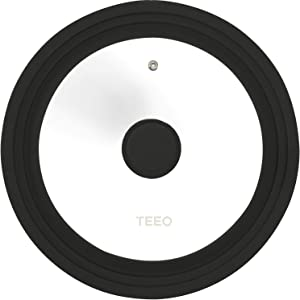 Universal Silicone Glass Lid Covers for Pots and Pans, Tempered Glass & Food Safe Silicone Rubber Rim, Cool-Touch Handle, Steam Vent, Dishwasher-Safe   Multi-Sized Lids (9.5/10/11 inches, Black)