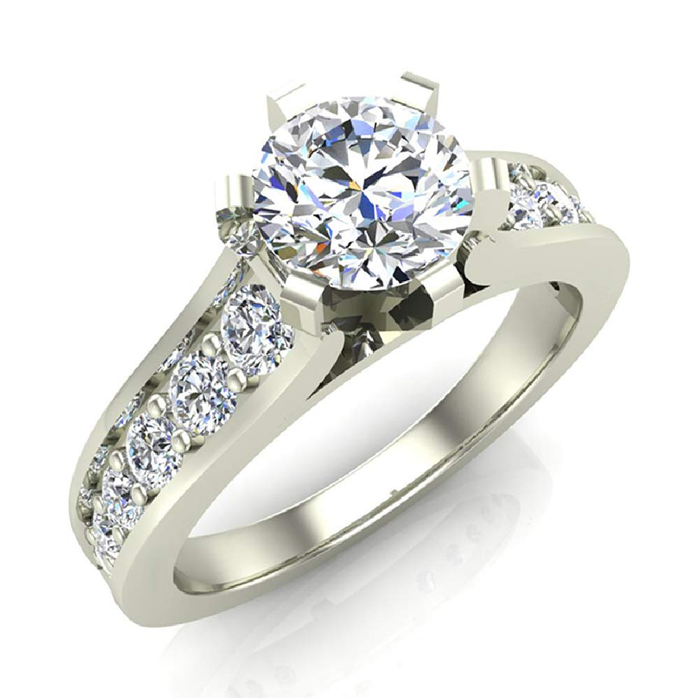 Round Brilliant Riviera Shank Diamond Engagement Ring 1.00 Carat Total Weight 18K White Gold (Ring Size 5)