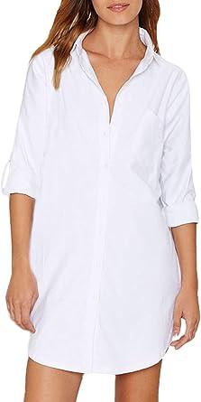 Auxo Women Long Sleeve V Neck Pocket Shirt Dress Tunic Top Casual Solid Charade Blouse