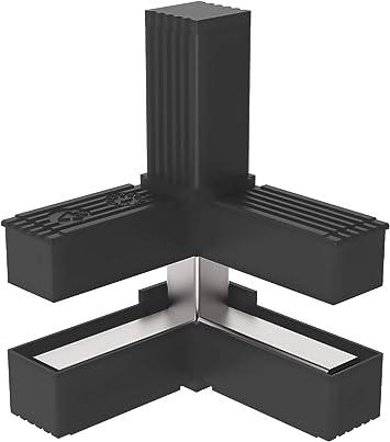 mm - 2 unidades // 20,00 x 20,00 Conectores para tubos cuadrados Con ALMA de Acero en C