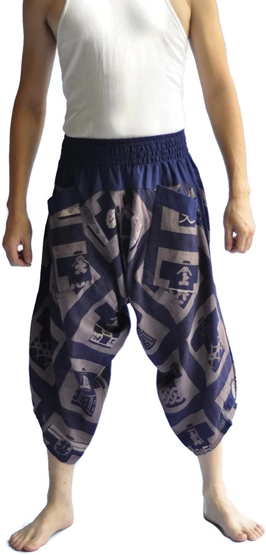 Siam Trendy Mens Harem Pants Design Japanese Style Pants One Size Blue: Clothing