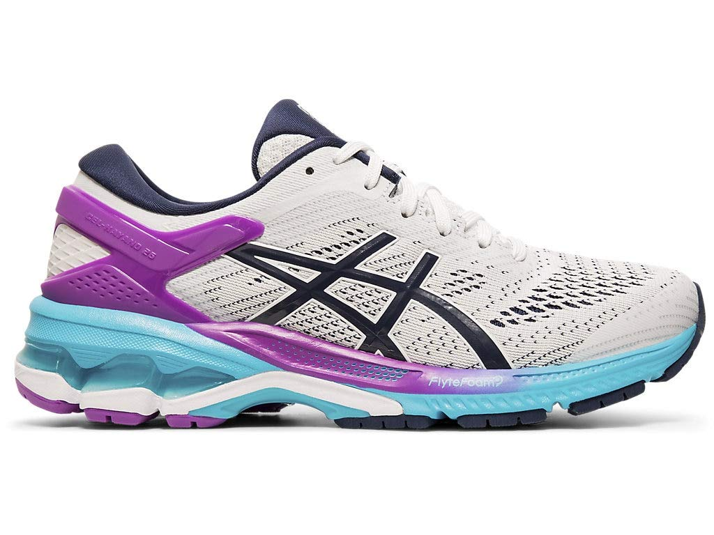 ASICS Women's Gel-Kayano 26 Running Shoes, 5M, White/Peacoat