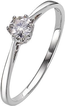 anillo de oro blanco con diamante blanco