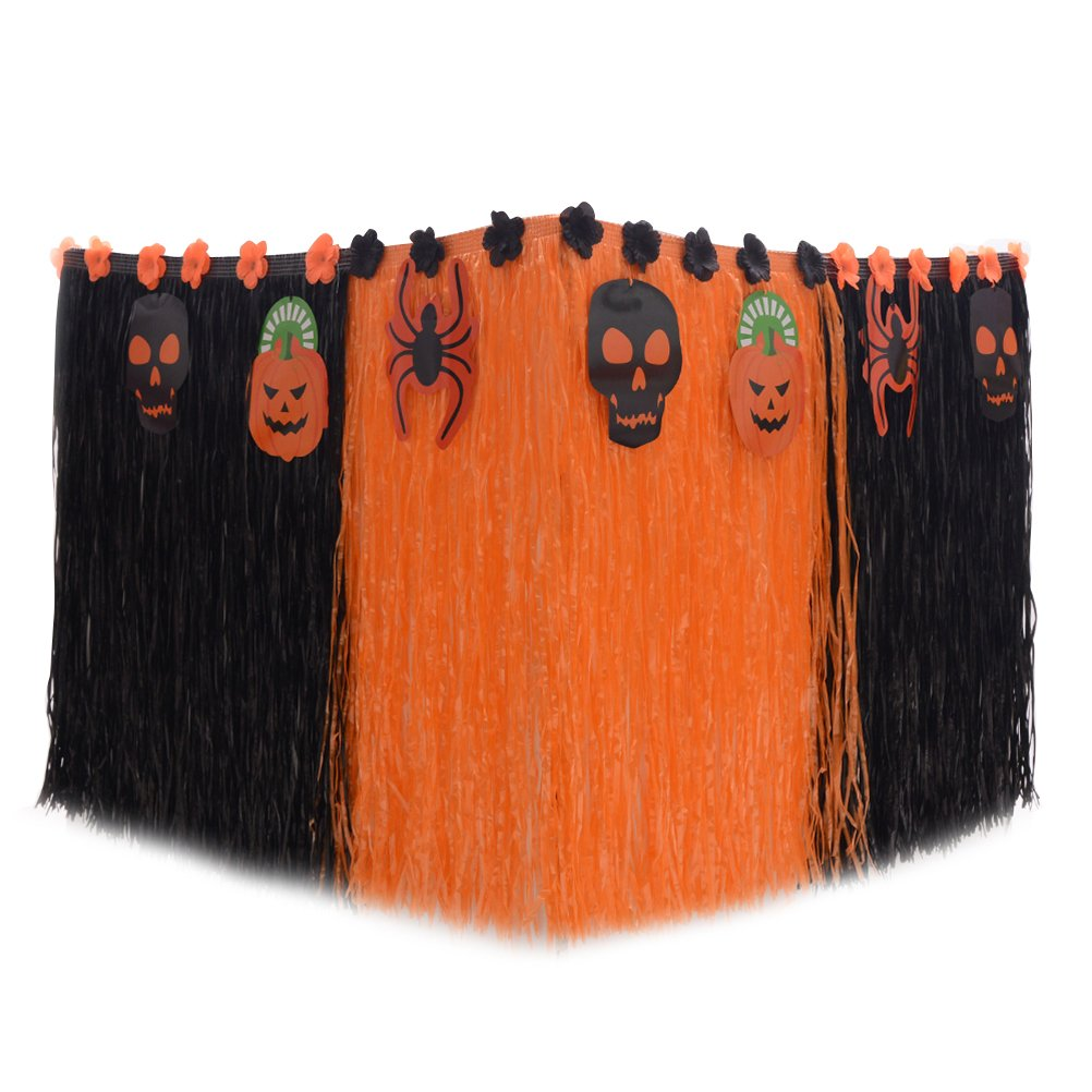 LUOEM 276x75CM Halloween Party Table Skirt Plastic Desk Skirt for Party Decoration (Halloween Type A)