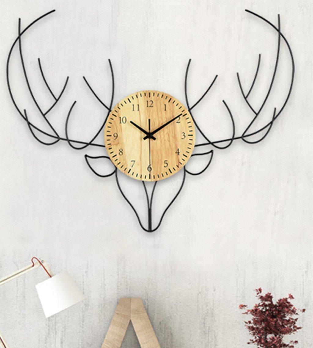 北欧スタイルの壁時計、Natood シンプルなスタイルの鹿の壁の壁時計リビングルーム木造サイレント壁時計、60Cm、黒、バッテリー無料 B07DNQ1JZG