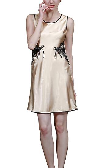 Amazon.com: 4ping Mujer Verano imitación seda pijamas sin ...