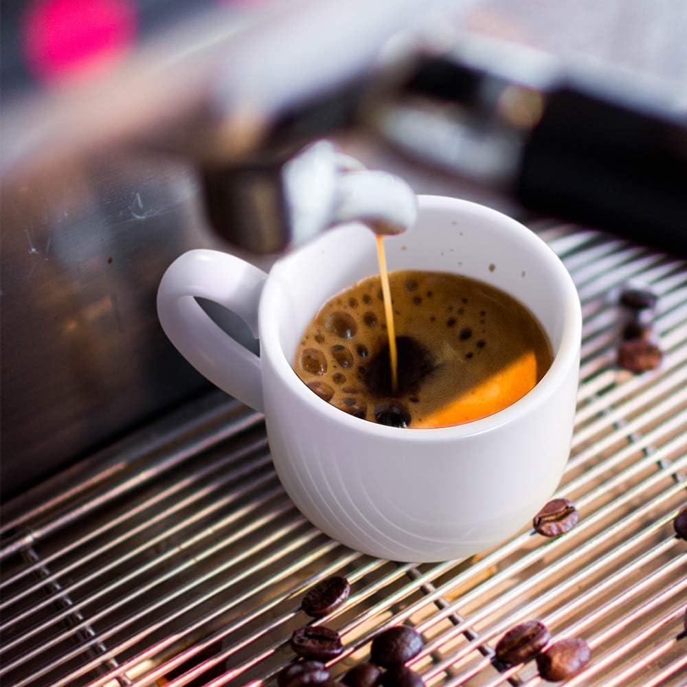 cappuccino o cioccolata calda Set di 6 tazzine da caff/è e piattini da 100 ml in porcellana latte per espresso italiano caff/è LIFVER impilabili colore: Bianco